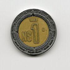 World Coins - Mexico 1 Peso 1993 Bimetallic Coin KM# 550 ; Lot-M2