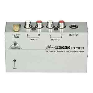 Behringer PP400 Ultra-Compact Microphono Phono Preamp - RCA Phono to Line/Mixer