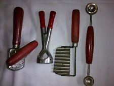 Lot of Vintage EKCO EDLUND Junior #5 RED HANDLE Can Opener, Melon Baller, Slicer
