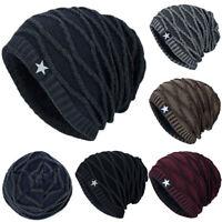 Men Unisex Knit Slouch Beanie Hat Winter Warmer Fleece Lined Ski Snow Ribbed Cap