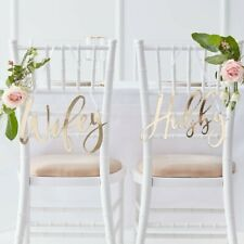 WIFEY & HUBBY - GOLD CHAIR SIGNS - GOLD WEDDING, Venue Decoration, Backdrop