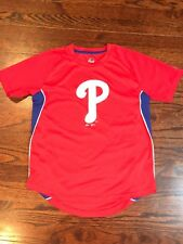 Majestic MLB Philadelphia Phillies Boy's Youth Short Sleeve Tee Red Size M 10/12