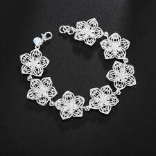 bracelet fashion charm jewelry wedding solid 925 Silver flower women cute noble