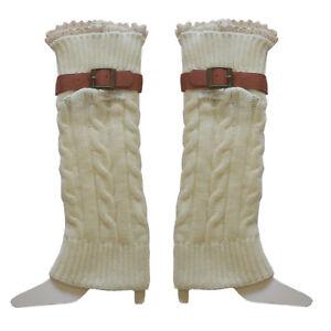 Winter Warm Leg Warmers Knit Crochet Leggings Boots Socks Women Belt Decoration