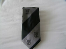 St Andrews Old Course Crested Silk Tie Striped Grey and Black