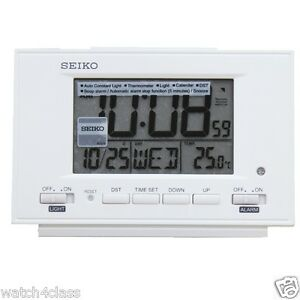 original Seiko Qhl075W White Light Thermometer Calendar Snooze Beep Alarm Clock