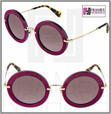 46946da4b583 MIU MIU NOIR ANIMAL LEATHER Round 08R Purple Cyclamen Mirrored Sunglasses  MU08RS