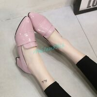2019 New Womens Pointy Toe Block Heel Slip On Loafers Pumps Shoe Patent Chic