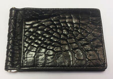 Genuine Crocodile Wallets Skin Leather Bifold Men's Money Clip Black Handmade
