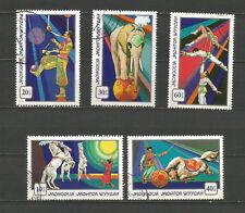 Mongolie 1974 le cirque mongol 5 timbres oblitérés /T5480