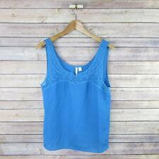 LC LAUREN CONRAD Women's Lace Trim Sleeveless Flowy Blouse Top M Medium Blue