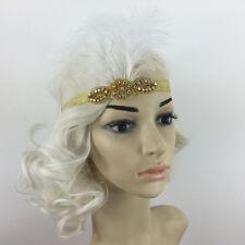 White Feather Gold Flapper Headband 1920s Fancy Dress Charleston Bowbands