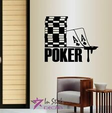 Vinyl Decal  Poker Sign Chips Cards Suits Casino Gambling Wall Art Sticker 1346