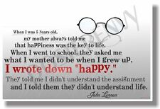 """I Wrote Down """"Happy"""" - John Lennon - NEW Famous Musician Quote Poster"""