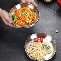 Stainless Steel Household Fruit Serving Dish Plate Tray Round Meat Dish D