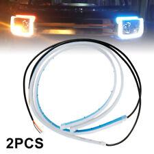 1 Pair 60cm Flexible Soft Guide Car LED Strip Blue DRL Amber Turn Signal Light
