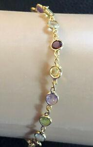 "Gold Sterling Silver Bracelet By the Yard Multi Color Gemstone 7.3"" 3g 925 #1157"