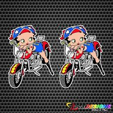 2x BETTY BOOP BIKER PUERTO RICO RICAN MOTORCYCLE  VINYL CAR STICKERS DECALS