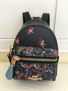 COACH Key Chain Floral Mini Backpack Key Fob Ring Charm Midnight Blue Multi New