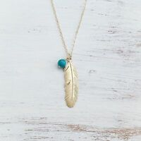 Long Necklace Feather Pendant 14K Gold Filled Trendy Jewelry Blue Bead Fashion