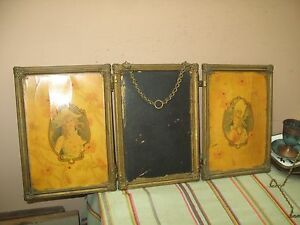 Antique Tri Fold Folding Dresser Beveled Mirror / 2 Celluloid Panel Brass Frame