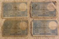 Lot Of 4 X French Banknotes. 4 X 10 Francs. Dated 1939-41. France.