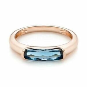 0.6Ct  Long Cushion Cut London Blue Topaz Solitaire Ring Rose Gold Finish Silver