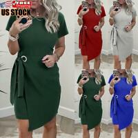 US Women's Short Sleeve Bodycon Dress Ladies Sexy Party Round Neck Mini Dresses