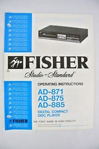 1980s ~ Fisher AD-871 75 85 DIGITAL CD DISC PLAYER OPERATING INSTRUCTION MANUAL