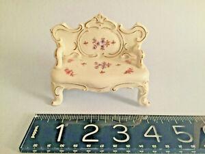 19thC ornate German hand painted porcelain MINIATURE Settee Gilded DRESDEN MINT
