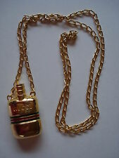 AUTHENTIC VINTAGE GUCCI PERFUME BOTTLE NECKLACE GOLD PLATED ITALY MINT RARE