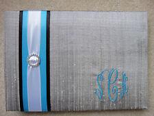 Silk Wedding Guest Book Monogrammed SCK Platinum Black Blue White Gray Silver