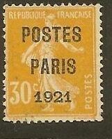 "FRANCE PREO 29 ""SEMEUSE 30c POSTES PARIS 1921"" NEUF (x)"