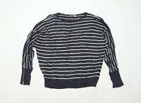 Mint Velvet Womens Size M Striped Cotton Blend Grey Jumper (Regular)