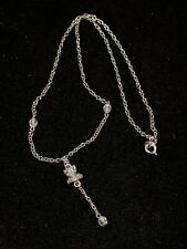 Silver Tone Frog Aurora Borealis AB Faceted Bead Necklace