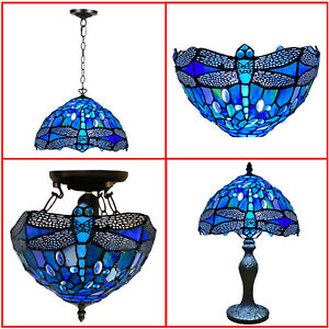 """Blue Dragonfly Tiffany Style 10"""" Stained Glass Shade Table/Pendant/Ceiling Lamp"""