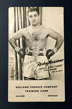 c.1953 ROCKY MARCIANO VINTAGE SIGNED - AUTO'D HOLLAND FURNACE POSTCARD as CHAMP