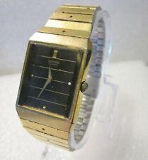 VTG Seiko Gold Tone Mens Rectangular Dress Watch 5Y00-503H New Battery Orig Band