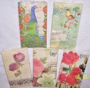 "3 PAPER NAPKINS:BIRDS,PEACOCK, ROSES FLOWERS, : 2 PLY-16""=CRAFTS-DECOUPAGE"