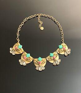 Stella & Dot gold tone Rhinestone statement necklace NEW