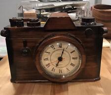 Vtg '88 Canetti Modern Time Solid Wood Rangefinder Camera Desk Shelf Clock