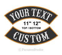 "Custom Embroidered 11"" 12"" Top Bottom Rocker Sew on Patch MC Biker Badge (B)"