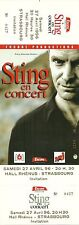 RARE / TICKET CONCERT - STING / THE POLICE LIVE A STRASBOURG 1996 / COMME NEUF