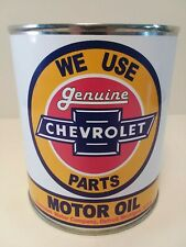 Vintage Chevrolet Motor Oil Can 1 qt - (Reproduction Tin Collectible)