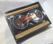 UNUSED OPEN Stailnes steel traditional Oriental Set 2 bowls chopsticks placemats