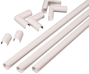 Hide Cord Cover Raceway Organizer Kit Wall Cable Concealer Wire Hider White NEW