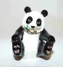 Panda Hinged Enameled Trinket Box Swarovski Crystals
