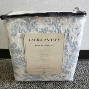 = Laura Ashley Amberley King Quilt Set With Shams Reversible Blue NEW