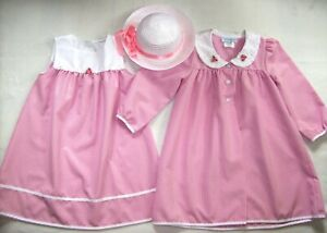 Girl 6:  VINTAGE-LOOK ~CHANTILLY PLACE~ PINK GINGHAM CHECK DRESS, COAT + HAT