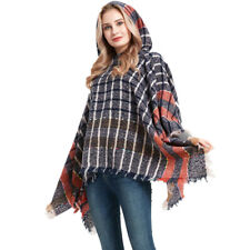 Lady Cape Checked Knitted Poncho Blanket Wrap Shawl Hooded Tassel Sweater Warm